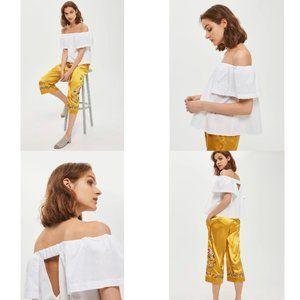 Topshop Maggie Poplin Bardot Top in White